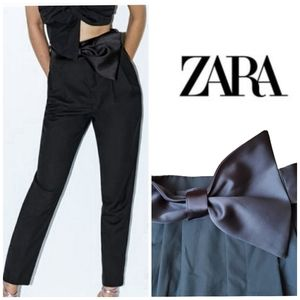 ZARA Bow Belt Pleated High Waist Pants Trousers